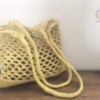 麻糸で編むネットバッグ