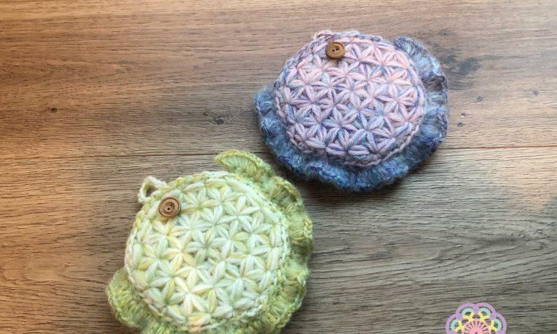 リフ編み ポーチ